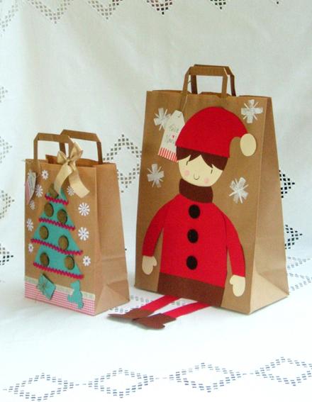 bolsas de papel decoradas para navidad imagui